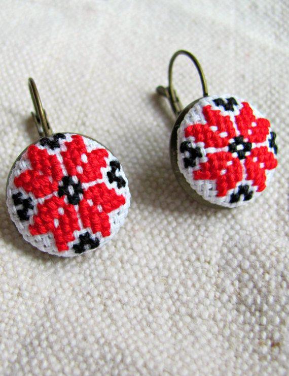 Red earrings Boho earrings folk earrings ethno by NeedleSChoice