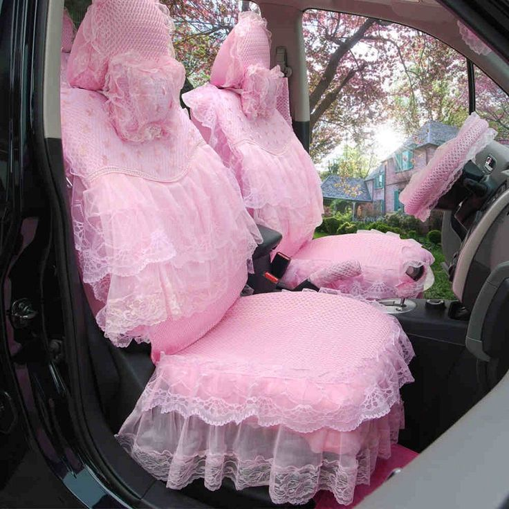 women pink flower lace skirt car seat covers cushion pad 3D mesh cover 19 pieces front rear all accessories universal fit HB08 #Affiliate