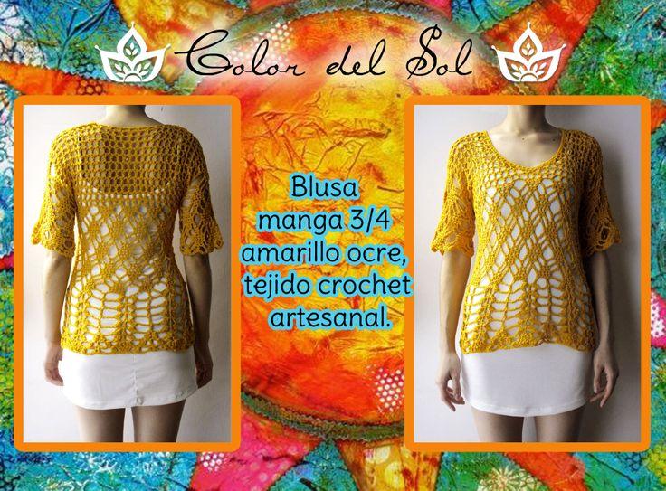Blusa manga 3/4 amarillo ocre, tejido crochet artesanal.