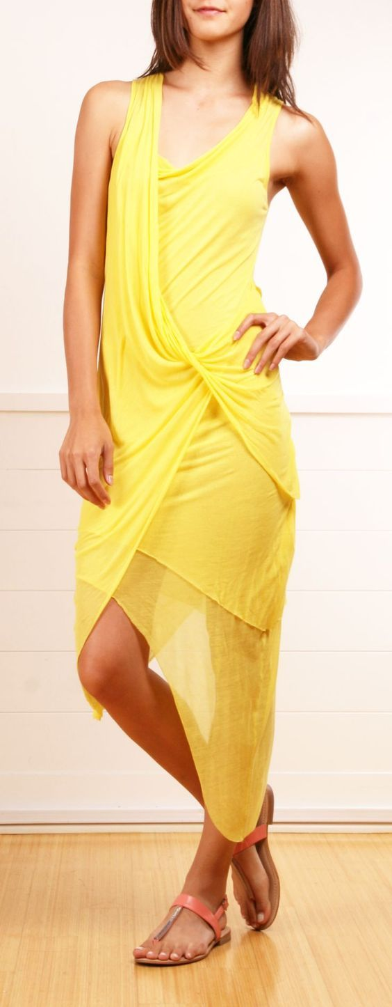 Yellow Summer Dress @roressclothes closet ideas women fashion outfit clothing style