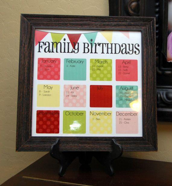"Family Birthday Calendar - Digital copy you print in ""Olive"". $25.00, via Etsy."