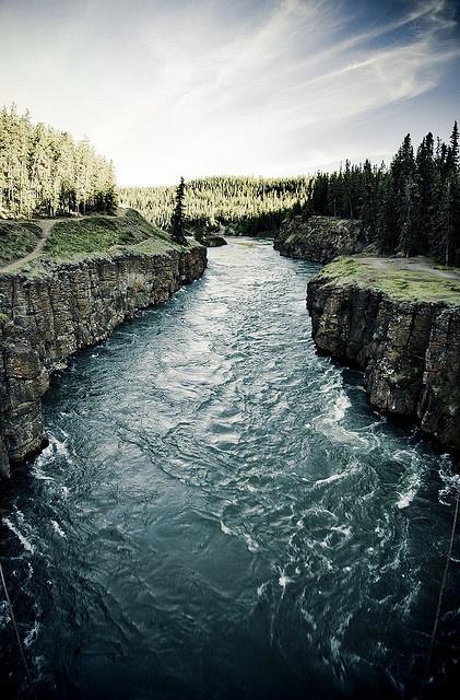 Miles Canyon, Yukon.  Walk, don't run, over the suspension bridge, believe me.