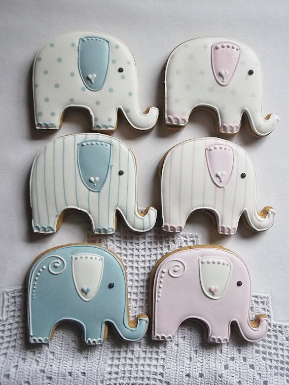10 Elephant Baby Shower Biscuit by CookieArtLondon on Etsy