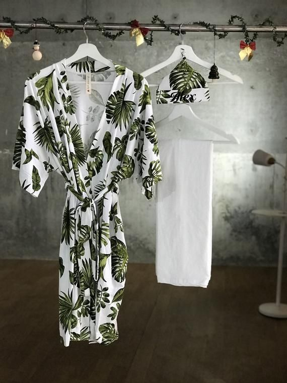 Mommy and me Swaddle set boy or girl Maternity robe Pregnancy robe Robe and swaddle set Organic stretch cotton. Kimono robe Tropical