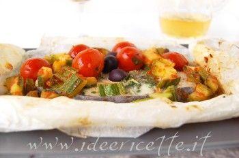 Ricetta Pesce spada al cartoccio con zucchine olive e pomodorini