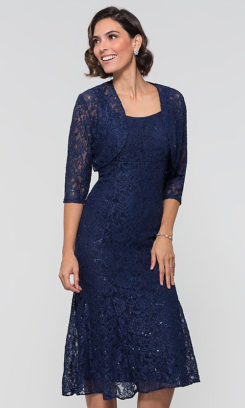 80a6f0892f3 Midi Sequin-Lace Navy Wedding-Guest Dress with Jacket Navy Wedding Guest  Dresses