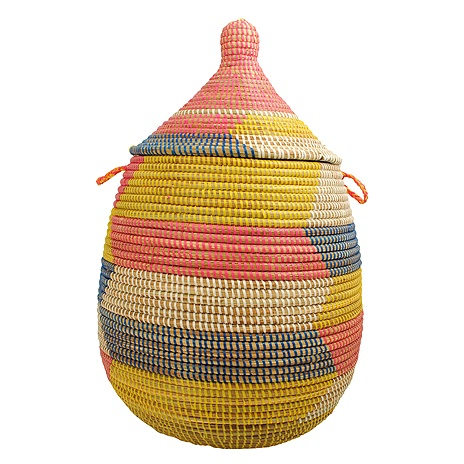 I brought a couple of similar baskets home from Senegal as gifts. Lovely, and very inexpensive in markets.