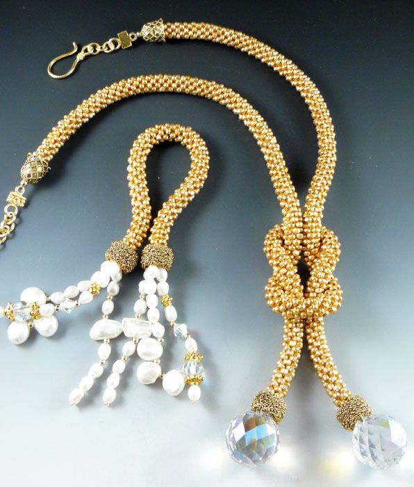 "Rona Loomis ""Change a Fringe"" bead crochet necklace"