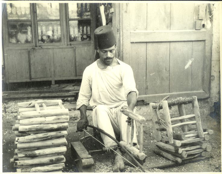 Egyptian chairmaker, Cairo, ca. 1910.