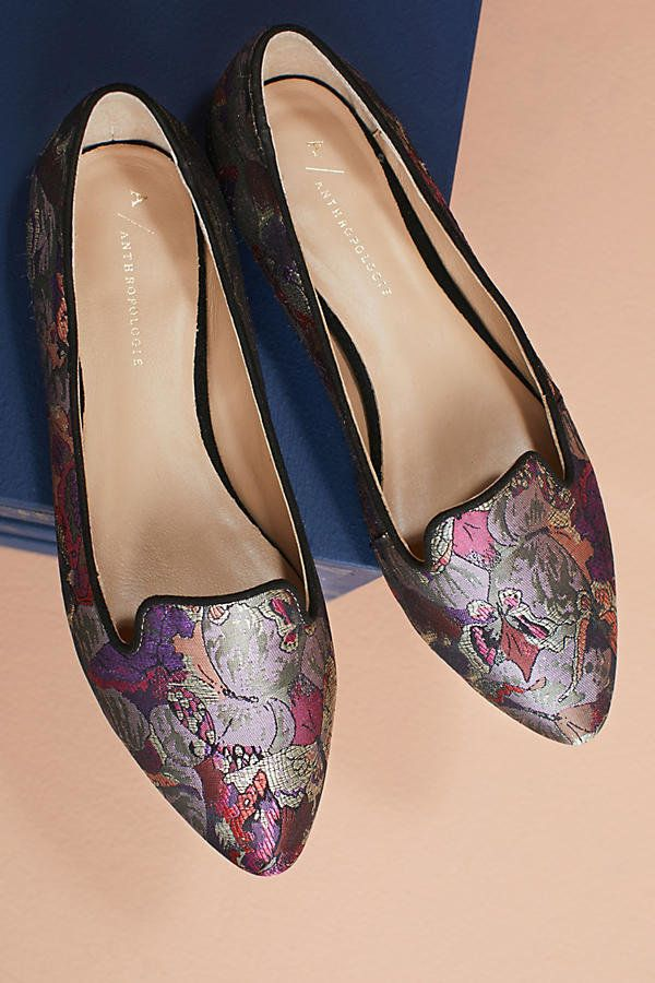 Brocade print flats -- brocade is one of the prints in fashion this fall