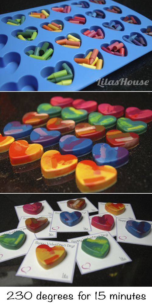 """You make my world more colofful"" Easy crayon hearts for Valentine's Day"