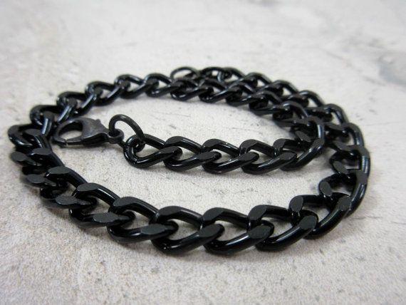 Black Chain Bracelet Guy Bracelet Anodized Aluminum by GlowingDawn