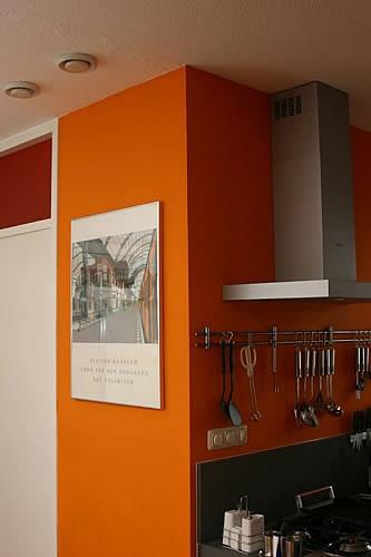 Inspiratie beeld Oranje keuken. Kitchen orange