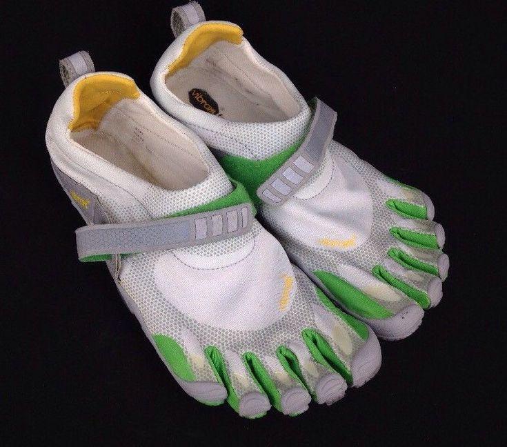 Vibram Five Fingers Athletic Running Toe Shoes White Grey Green Men's Size 42     eBay