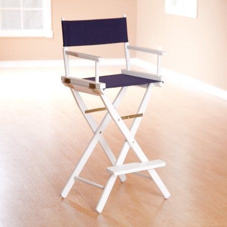 30 inch Director's Chair Natural Frame-Navy Blue Canvas, Beige