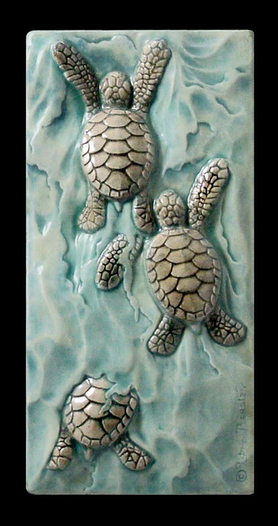 Ceramic tile sculpture baby sea turtle Body by MedicineBluffStudio, $38.00