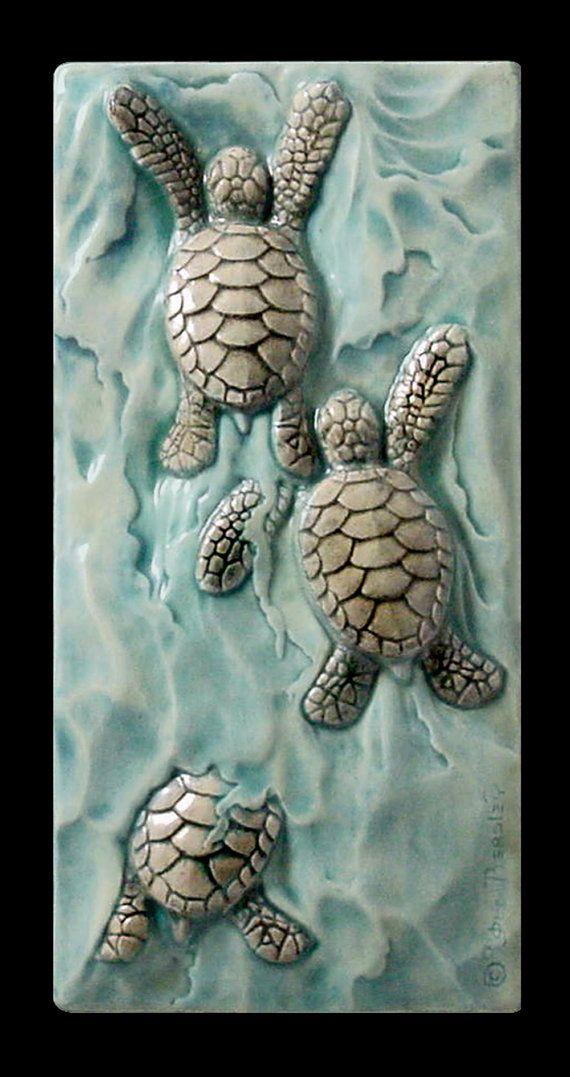Ceramic tile sculpture baby sea turtle Body by MedicineBluffStudio, $38.00