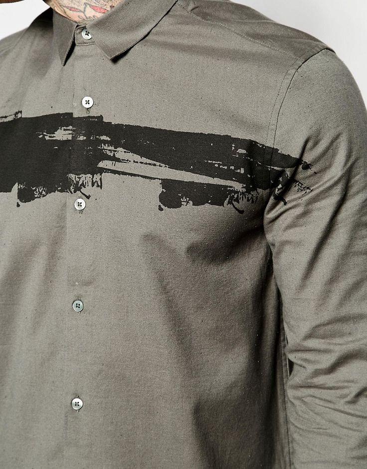 Bild 3 von ASOS – Langes Hemd mit Fleckenmuster und 3/4-Ärmeln