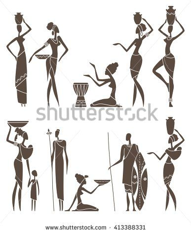 Silhouettes of African men and women in traditional clothing
