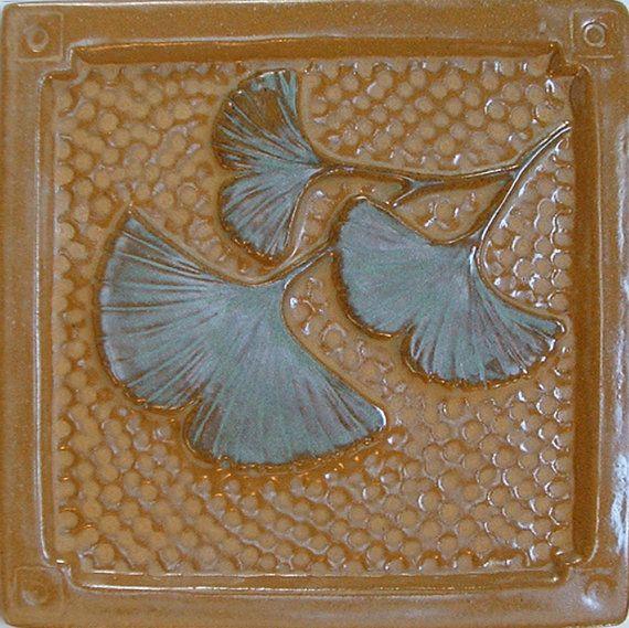 6 Gingko/Ginkgo Leaf Arts and Crafts tile by FayJonesDayTile