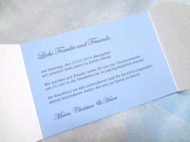 Einladungskarten   Einladungskarte Zur Taufe / Junge, Inkl. Druck   Ein  Designerstück Von AtelierIsabel