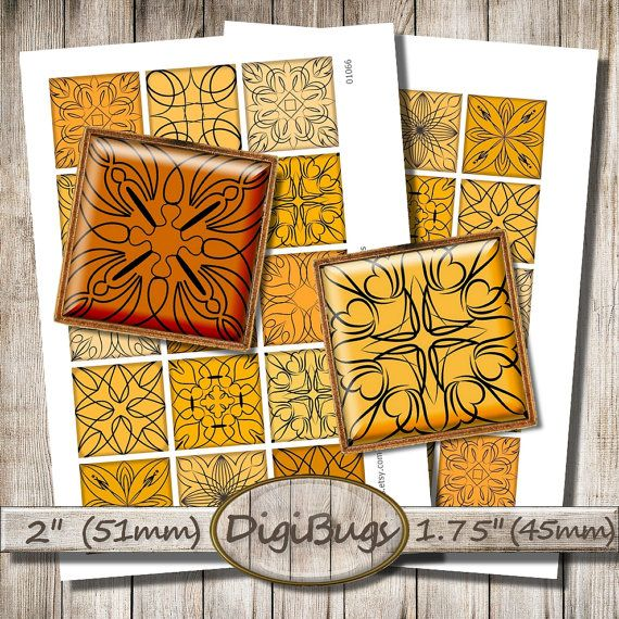 Autumn Ornaments, Digital Collage Sheet 2 inch, 1.75 inch Squares, Black and Orange Colors, Printable File, Instant Download, c2