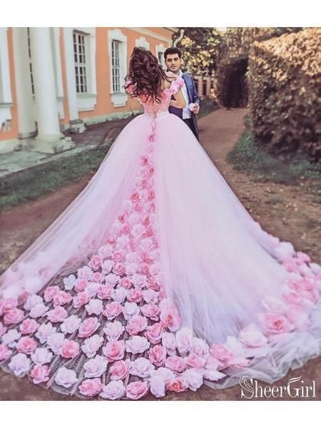 Pink Cathedral Wedding Dress Vintage 3D Flowe Applique Wedding Gown AWD1414 – #3