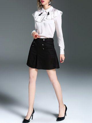 Shirt Collar Casual Long Sleeve H-line Ruffled Blouse