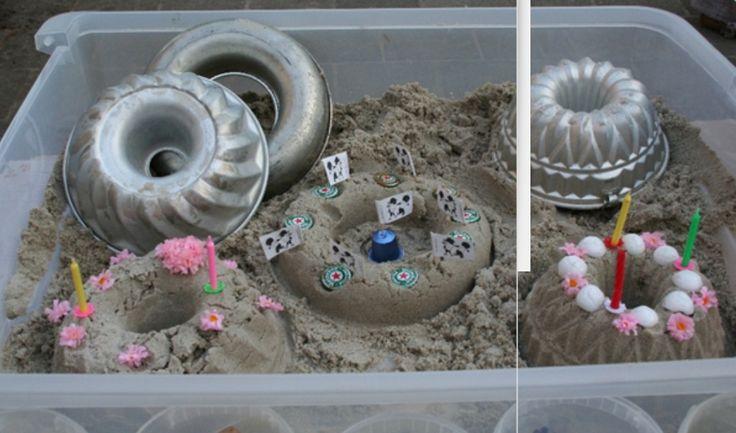 Taartjes maken van zand