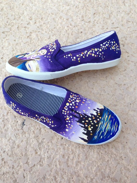 Disney Tangled Rapunzel Lantern Painted Shoes by MadeByChristy