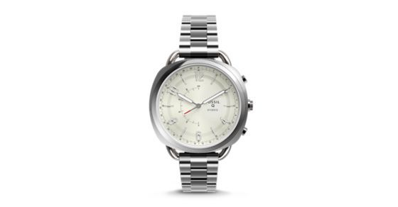 """Modernize your wristwear with Q Accomplice, our slimmest hybrid to date that looks like a watch, but acts like a smartwatch. Powered by the Fossil Q App, Fossil Q Hybrid Smartwatches are compatible with phones running Android™ OS 5.0+ or iPhone 5/iOS 9.0+.Q App is provided by Fossil Group, Inc. so your data will be stored in the USA. See the Q App Privacy Policy and Terms of Use for more information (accessible below at """"Customer Care"""")."""