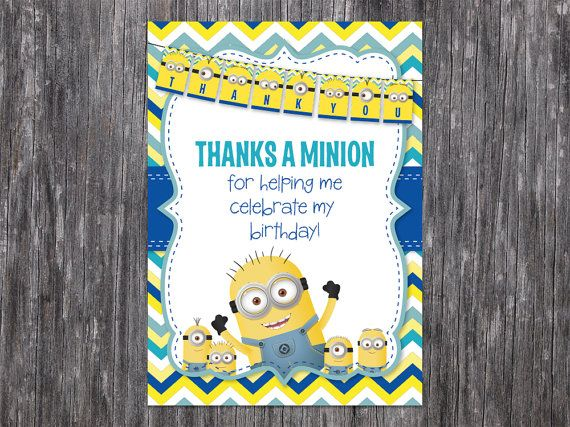INSTANT DOWNLOAD: Minion / Despicable Me Thank You by BKBdesign