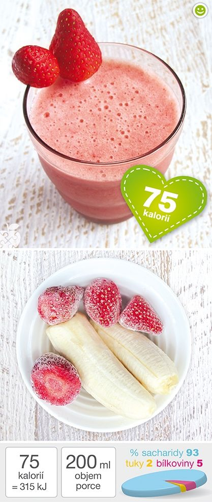 1 sklenice - 75 kcal (315 kJ) Rozpis na 2 sklenice koktejlu (celkem 0,4 l):  Ingredience 1 menší zralý banán (200 g) 5 zmražených jahod (100 g) 3 dcl studené vody  Příprava Zmražené jahody a banán vložte do výkonného mixéru, zalijte studenou vodou a vše rozmixujte do hladka.