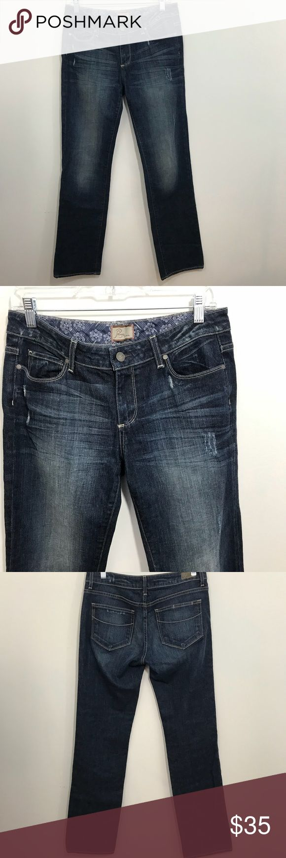 """Paige Jimmy Jimmy Distressed Boyfriend Jeans Sz 27 This is a Pair of Women's Mid Rise Slouchy Fit Straight Leg distressed Boyfriend Jeans by Paige Premium Denim (Jimmy jimmy)  Signature Paige Premium Denim Rear Pocket Design with """"Hidden"""" Credit Card Pocket and Brand Logo Hash Marks Signature Paige Premium Denim Brand Logo Leather Patch on Waistband Approximate measurements are 34"""" waist and 33"""" length unrolled. PAIGE Jeans Boyfriend"""
