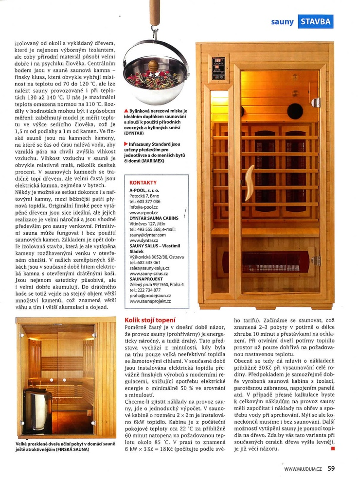 Naše infrasauna Standard v časopise Rodinný dům