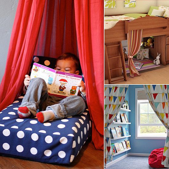 Interior, Fascinating Pinterest Reading Nook Design For Kids With Red Curtain And Wooden Concept Reading Nook Ideas: Inspiring Cozy Reading Nook Design Ideas For Free Space