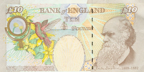 Charles Darwin on the English 10 pound note Darwin – Money Note Template