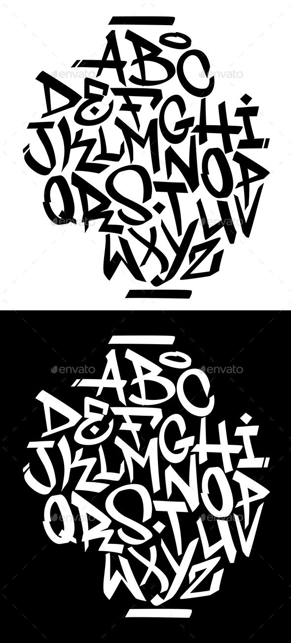 Handwritten Graffiti Font Alphabet - Miscellaneous Vectors | tattoo ...