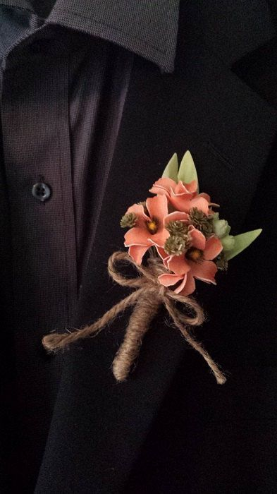 Wedding Boutonniere Boutineer  Rustic Coral by TheRusticPorch, $8.50