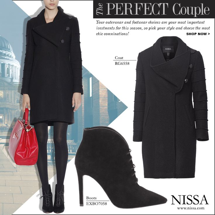 www.nissa.com  #nissa #perfect #couple #outfit #outerwear #coat #boot #style #combination #invest #street #chic #black #fashion #fashionista