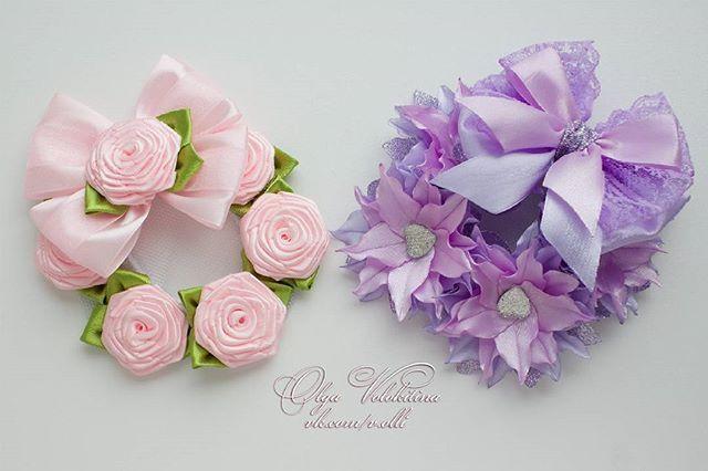 #сетка на #пучок #детская  #цветыизлент #розы #розовый #фиолетовый #сиреневый #бант #пышныйбант #украшениядляволос #ручнаяработа