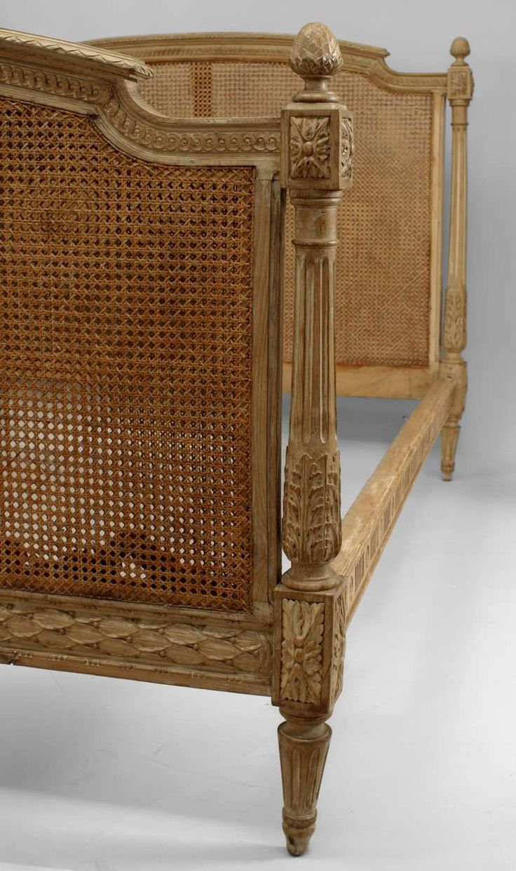 Antique cane chair styles - French Louis Xvi Style Cane And Stripped Wood Full Sized Bed French Daybedcane Furnitureantique