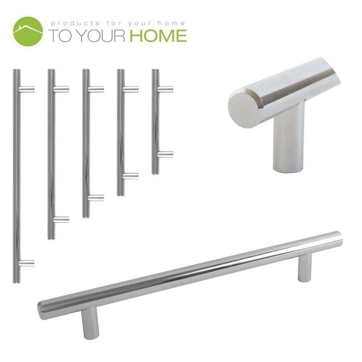 T Bar Solid Chrome Kitchen Cupboard Cabinet Drawer Door Handles 5 Sizes