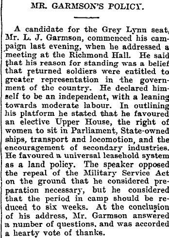 Political hopes of Lindsay J F Garmson 1918,1919