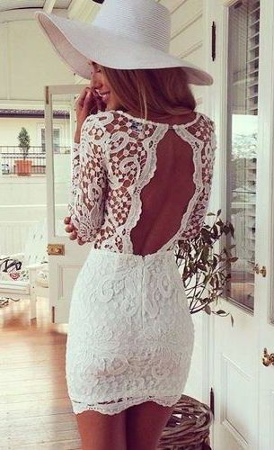 #summer #fashion / open-back lace dress