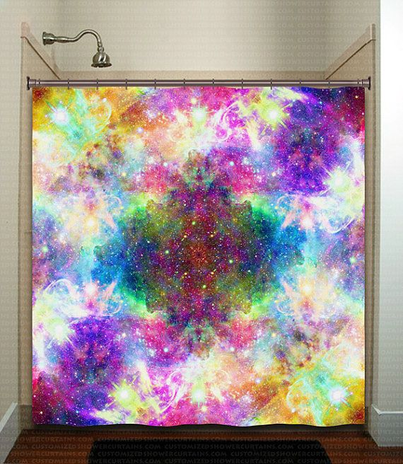 Rainbow Cosmos Nebula Outer Space Galaxy Shower By TablishedWorks Curtain PanelsWindow CurtainsShower CurtainsValanceBathrooms DecorCustom Bathrooms Kid