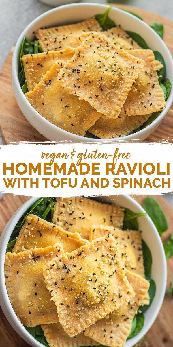 Hausgemachte vegane Ravioli mit Tofu und Spinat – …