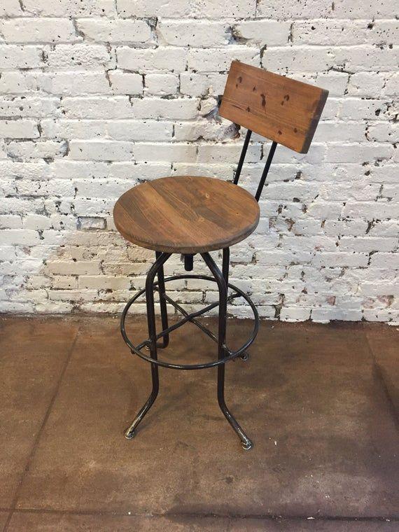 Adjustable Bar Stool Industrial Bar Stool Wood Bar Stool