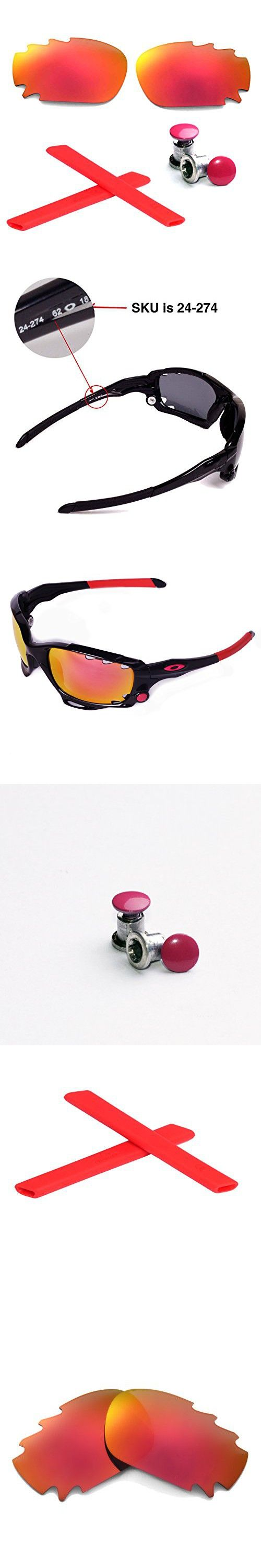 Walleva Polarized Fire Red Vented Lenses+Red Earsocks+Bolt For Oakley Racing Jacket