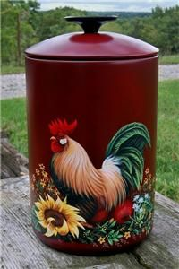 Canister HP Hand Painted Rooster Apples Sunflower Fall Decor Enamel